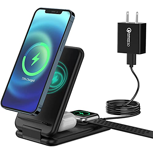Wireless Charging Station, ANDOLO 3 in 1 Wireless Fast Charger Stand Dock for Multiple Devices, iPhone 12/12 Pro Max/11/11 Pro/X/Xr/Xs/8 Plus, Apple Watch, Airpods 2/Pro, Qi Phones (Include Adapter)