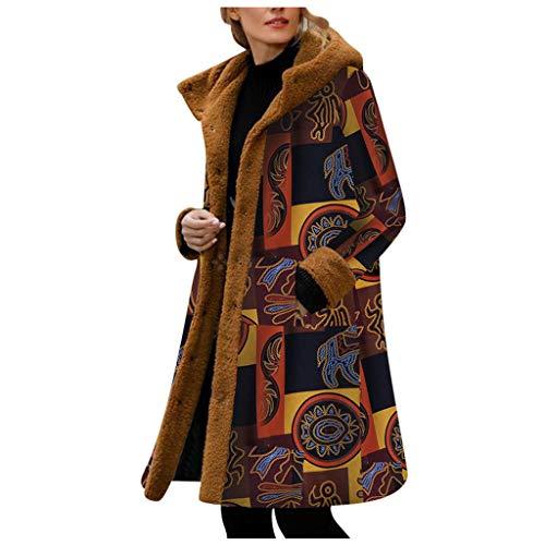 HDUFGJ Damen Onlsedona Coat Vintage Druck Mantel Pelzige Ärmel Baumwolle Kapuzenmantel Fellkapuze Pullover Hoodie Coat Winterjacke Daunenjacke Windjacke4XL(Gelb)