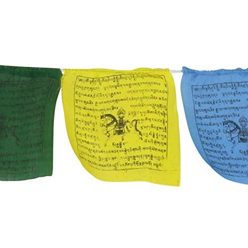 Freak Scene Tibetische Gebetsfahnen - 12 cm breit - rote & Schwarze Schrift - 5 Rollen Set - Baumwolle