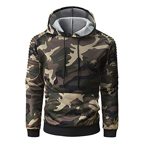 PRJN Men in Camouflage Hoodie Jacket Mens Casual Slim Pullover Sweater Pullover T Shirt Mens Long Sleeve Pullover Spring Autumn Winter Lightweight Casual Slim Fit Classic Sweater Tops Hoody