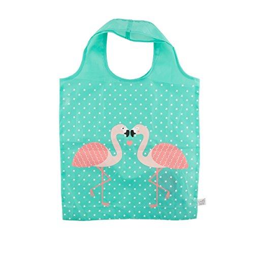 Tropical Pink Flamingo Green Foldable Shopping Bag Eco Friendly Fun Carry Food Bag