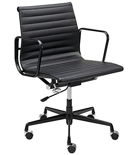 Silla de oficina Body Prestige Plus de piel natural y aluminio, color negro