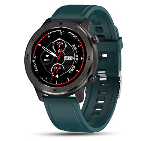 elegantstunning Dt78 Reloj Inteligente Deportivo Smartwatch Fitness Pulsera B1.3 Pulgadas Pantalla Táctil Completa 230Mah Batería IP68 Impermeable Salud Monitor Verde Banda de Silicona Atajos