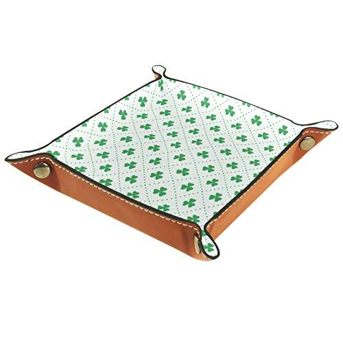 ZDL Caja de almacenamiento con patrón de hojas de trébol verde para el día de San Patricio, organizador para llaves, teléfono, moneda, cartera, relojes, etc. 16 x 16