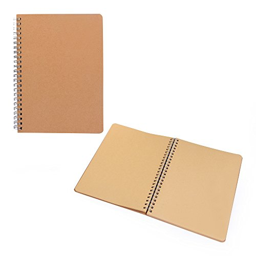 Skizzenblock 2er Set, aus feinem gut beschreibbarem Kraftpapier, Naturpapier, 2 Skizzenblöcke im Format A5, praktisches Ringbuch, natürlich und stylisch