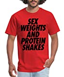Stay Fly Sex Weights and Protein Shakes Men's T-Shirt, S, red