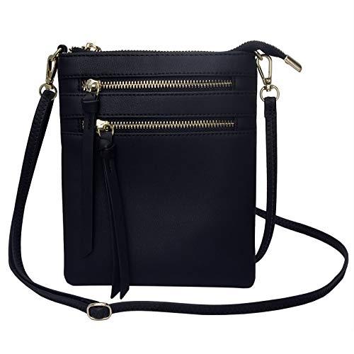 Small Crossbody Purses and Handbags for Women Multi Zipper Pocket Crossover Travel Bag Over The Shoulder (Black)