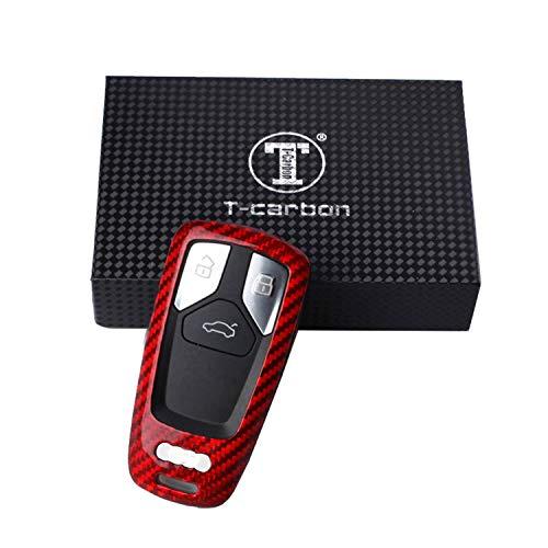 Kwak's Porte-clés de Voiture,Léger Mince Étui à Clés en Fibre de Carbone Compatible pour Audi 16 17 A4L A4 A5 TT S5 Smart Key Fob (Rouge)