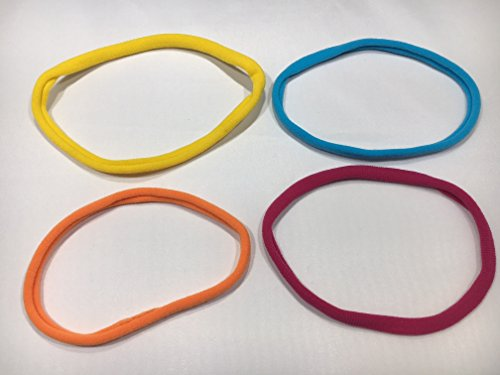 niavida Lot de 4 bandeaux pour cheveux - Couleurs fraîches - Jaune, orange, bleu, rouge et violet