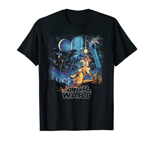 Star Wars A New Hope Faded Vintage Poster Graphic T-Shirt