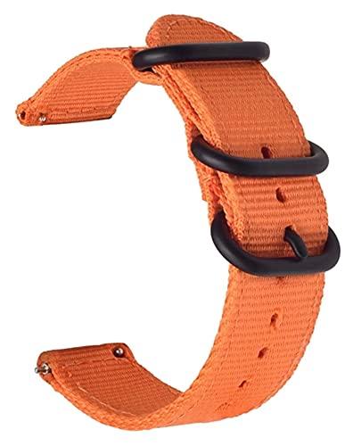 Lzpzz Correa de nailon para reloj de lona con interruptor de liberación rápida, correa de nailon de 20 mm, 22 mm, 24 mm (color: hebilla negra naranja, tamaño: 24 mm)