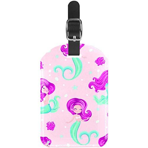 Etiquetas de Cuero para Equipaje de Color Rosa, diseño de Sirenita para Bolso de Viaje, Etiquetas de Maleta, Paquete de 1