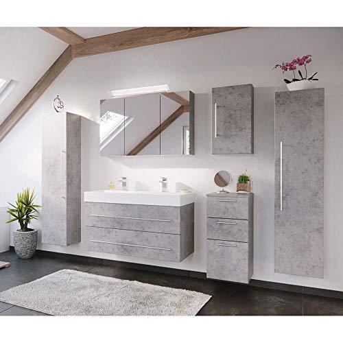 Lomadox Badezimmer Badmöbel-Set mit 100cm Doppel-Waschtisch in Beton-Optik grau & mit LED-Spiegelschrank
