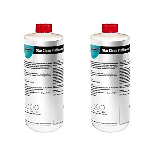 Star Clean Platten & Wegerein, 2 x 1L - Steinreiniger-Konzentrat für Terasse, Plasterstein und Beton