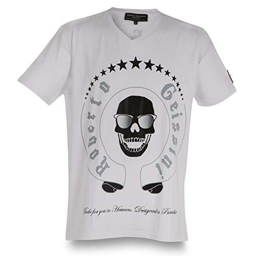 T-Shirt Skull Sunglasses New Men White L