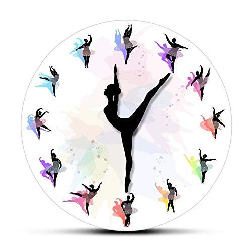 Reloj de Pared con Estampado Colorido para Mujer con sobrepeso y Bailarina Bailarina, Reloj de Pared Elegante con Flecha móvil para Chica Gimnasta para Bailarina, habitación de niñas