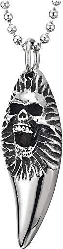 NC56 Men s Women s Gothic Teeth Ivory Horn Skull Cross Pendant Necklace Hip Hop Rock Charm Necklace