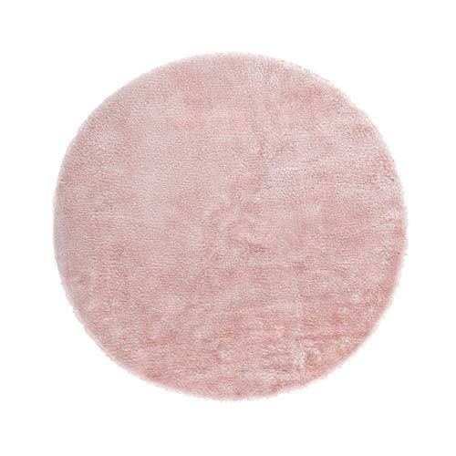 Andiamo - Tappeto in pelliccia di agnello, sintetico, colore rosa, diametro 120 cm