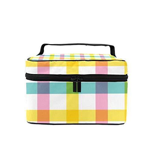 Bolsa de maquillaje de viaje, bolsa de cosméticos grande de búfalo a cuadros colorido estuche de maquillaje organizador con bolsa de malla para mujeres y niñas