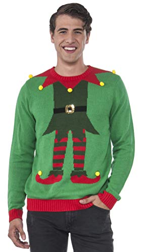 Rubie's Men's Green Elf Ugly Christmas Sweater, Multi, Large