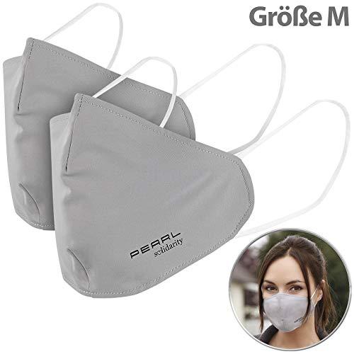 PEARL Nano Schutzmaske: 2er-Set Mund-Nasen-Stoffmaske, Nanofilter, 98,9%, waschbar, Größe M (Nano Maske)