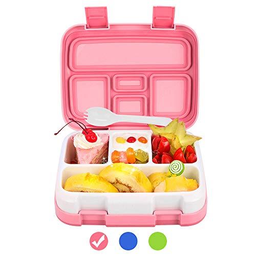 """儿童午餐盒Bento Box BPA免费Dacool升级小孩学校午餐容器用勺子5室泄漏证明耐用,膳食水果小吃包装野餐户外,微波安全 - 粉红色""""data-large_image_width="""