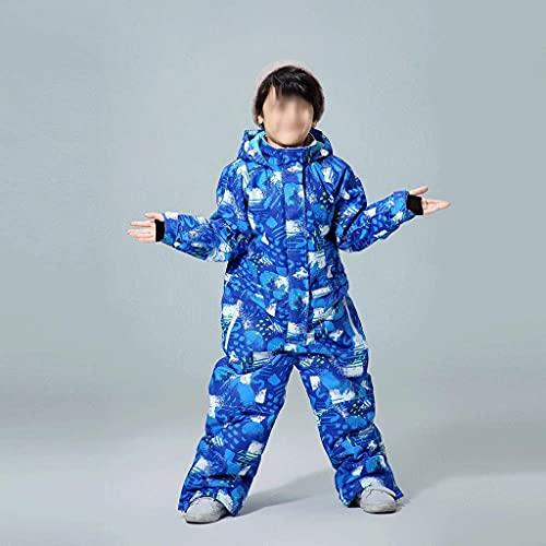 XHAEJ Traje de nieve para niños y niños, impermeable, para deportes al aire libre, ropa de esquí, abrigo y correa para la nieve, disfraz para niños (talla 120)