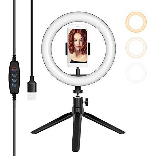 Ringlicht für Handy mit Stativ, KUPVALON Tisch Ringleuchte 8 Zoll LED 3 Farben 10 Helligkeiten Dimmbar mit Handyhalter Live Licht für YouTube TikTok Selfie Foto Makeup Video Vlog Live-Stream