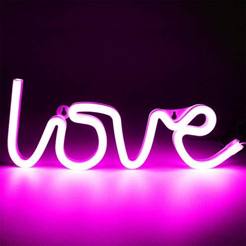 Liebe Neonlicht-Schilder, Licht LED Liebe Kinder Geschenk Deko Festzelt Schild Wand Zimmer Hochzeit Party Bar Pub Hotel Strand Freizeit Fur Wohnzimmer, Hochzeit,Party, Weihnachten (Rosa,Warmweiß,rot)