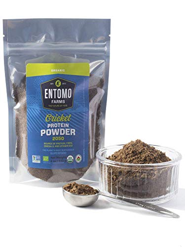 Entomo Farms Organic Cricket Powder │113g Bag │ Pure Canadian Cricket Flour   Complete Protein   Whole Food, 100% Ground Crickets, No Fillers, Gluten-Free, Paleo & Keto Diet