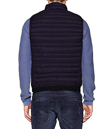 Armani Exchange Puffer Jacket Gilet Chaleco, Azul (Navy/Melange Grey Bc 5578), Medium para Hombre