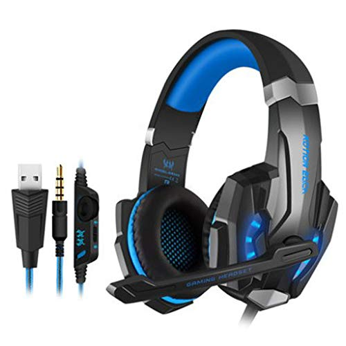 Headset computer game headset 3.5 plus USB single-hole headset for PS4 Black and Blue 3.5 Single-Plug Edition