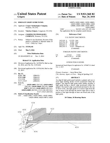 Edge-lit light guide panel: United States Patent 9921368 (English Edition)