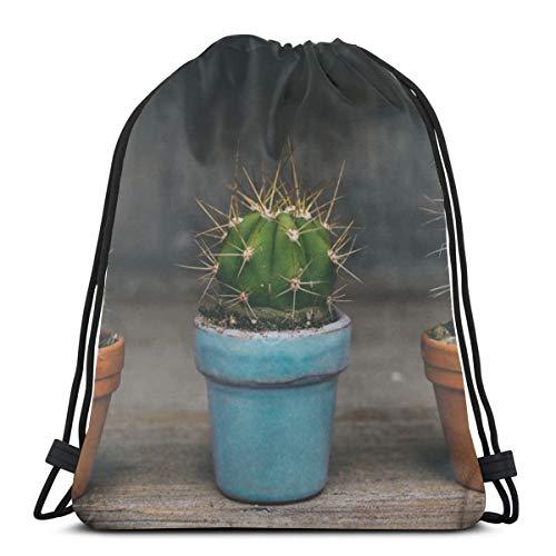 Cactus Doorn Woestijn Plant Doornen Flora Bloempot Botany Groene Vrouwen Meisje Kunst Trekkoord Rugzak Beam Mond Gym Zak Schoudertassen Voor Mannen & Vrouwen