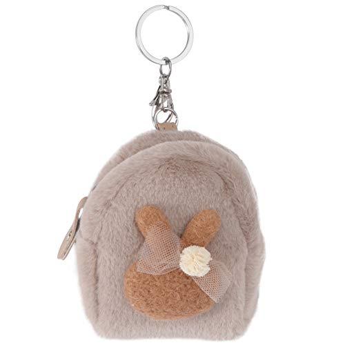 Cabilock Pluche portemonnee kleine haas portemonnee pluizige portemonnee ritssluiting portemonnee met sleutelringen mini…