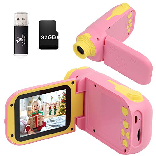 Kids Camera, Video Camera Camcorder for Kids Gifts, 1080P HD DV Digital Video Camera with 2.4inch Screen, 12MP Kids Camera for Children Boys & Girls 3-10 Year Old with 32G SD Card, SD Card Reader