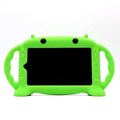 Kids Proof Case for Samsung 7 inch Tablet Galaxy Tab A/3/3 Lite/4/E Lite 7.0-CHINFAI [Cartoon Robot Series] Silicone Handle Stand Case Cover for Tablet SM-T280/T113/T230 (Green)