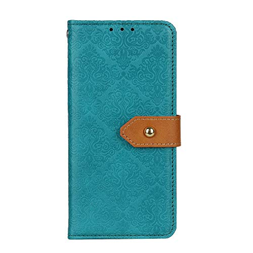 TOPOFU Hochwertige Leder Handyhülle für Xiaomi Poco M3 Pro 5G Hülle, Flip Hülle Tasche mit Magnetverschluss, Leder Schutzhülle mit Kreditkarten - Blau