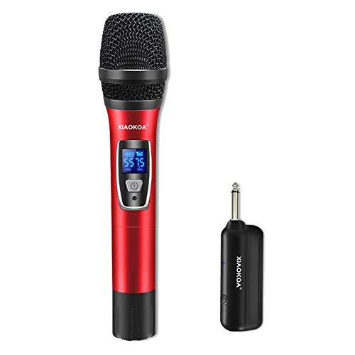 Karaoke Mikrofon,XIAOKOA UHF Wireless Mikrofon für Voice Amplifier, Stage Speaker, Karaoke/Kirche/Party/Hochzeit/Meeting,Drahtloses Mikrofon Empfangsentfernung 50m,Handmikrofon mit USB-Ladeempfänger