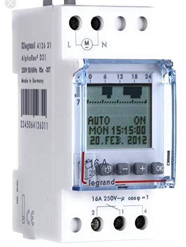 Legrand, Digitale Astro-Zeitschaltuhr mit Kombifunktion AlphaRex D21, 1 Kanal, 2-modulig mit 56 Schaltprogramme für Hutschiene 230V/50Hz, 412654