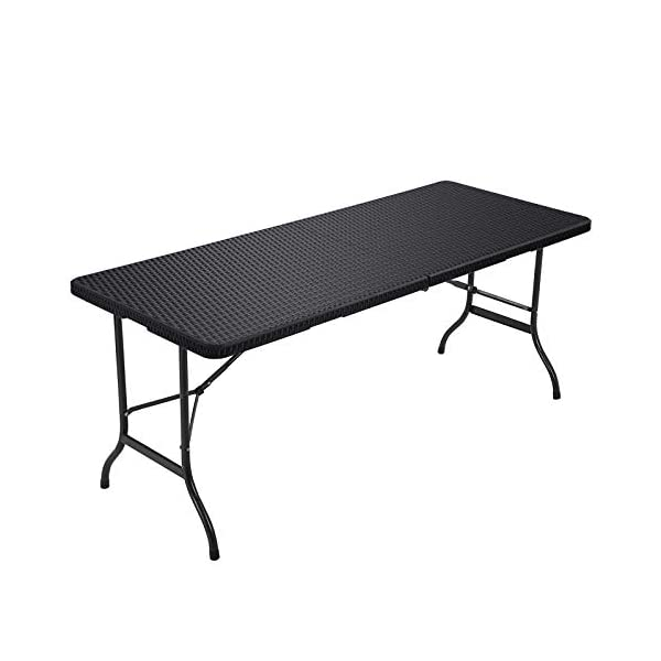 SONGMICS Klapptisch, großer Gartentisch mit Oberfläche aus Polyrattan, klappbarer Campingtisch, Sicherheitsriegel…