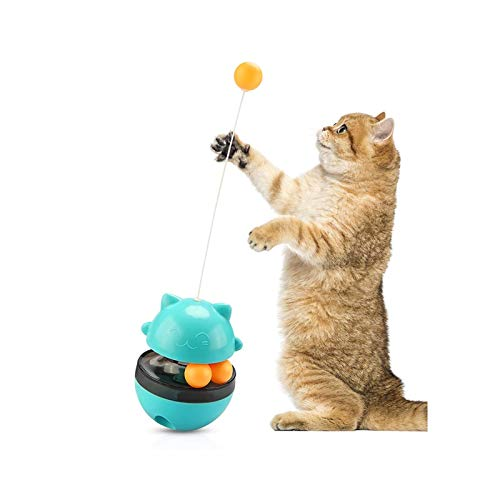 KAFITE Interactive Cat Toy 4 In 1 Tumbler Cat Treat Toy Cat Puzzle Toys Snack Food Dispenser Pet Leaking Food Training Ball Slow Eating IQ Training Treat Ball For Cats Relieve Anxiety (Color : Blue)