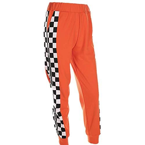N/P Pantalones de Tablero de ajedrez Laterales de...