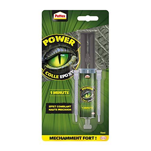 Pattex Epoxidkleber Power 1 Minute, Klebstoff auf Basis von Epoxidharz mit Spritze, gebrauchsfertig, starker und schneller Kleber, geeignet für unregelmäßige Oberflächen, 11 ml