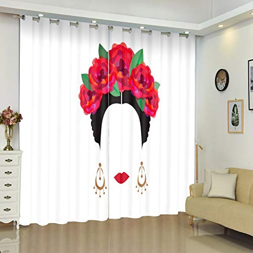 """Qoalips Elegant Blackout Curtains, Portrait of Modern Mexican Or Spanish Woman Flower Crowns Transparent Soundproof Window Curtains for Bedroom Living Room Window Drapes 2 Panel Set 108"""" W x 96"""" L"""