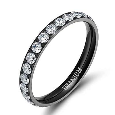 TIGRADE 3mm Women Titanium Engagement Ring Cubic Zirconia Eternity Wedding Band Size 3 to 13.5, Black, Size 10
