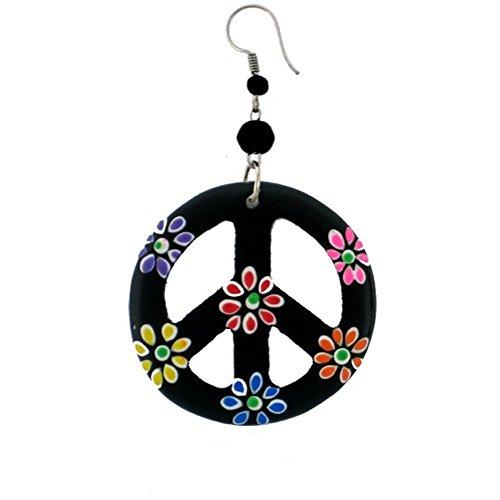 CHICNET Holzohrringe schwarz Peace bunt Blumen Perlen Ohrringe Holz Edelstahl Ohrhänger Damen Organic