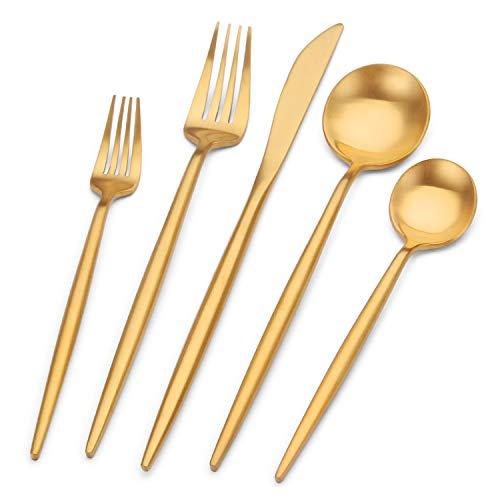 Bettlife Besteck-Set aus Edelstahl, matt, goldfarben, satiniert, Besteck-Set für 4, 20-teilig, Löffel und Gabeln