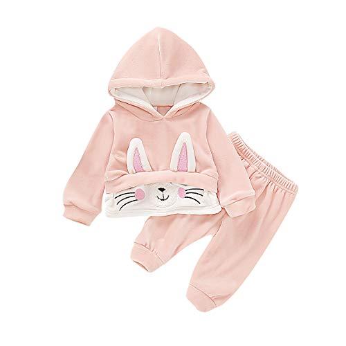 Haokaini Pasgeboren Baby Konijn Oor Gestreepte Fluwelen Hooded Outfits Hoodie Tops Broek Kleding voor Baby