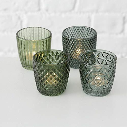 LS-LebenStil 4x Glas Teelichthalter Retro Grün 7cm Windlicht-Halter Kerzenständer